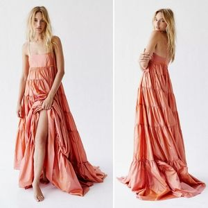 Free People Enough With the Tiers Maxi Silk Gown